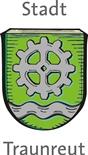 Grünes Wappen der Stadt Traunreut
