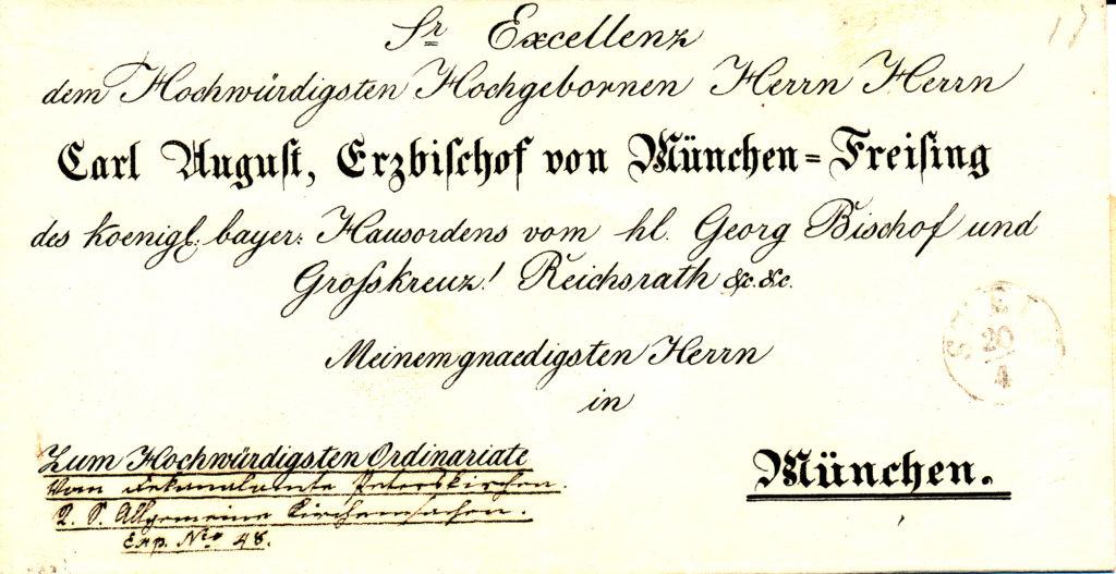 Ein Bischofsbrief aus dem Jahr 1848, abgeschickt von der alten Poststelle in Stein