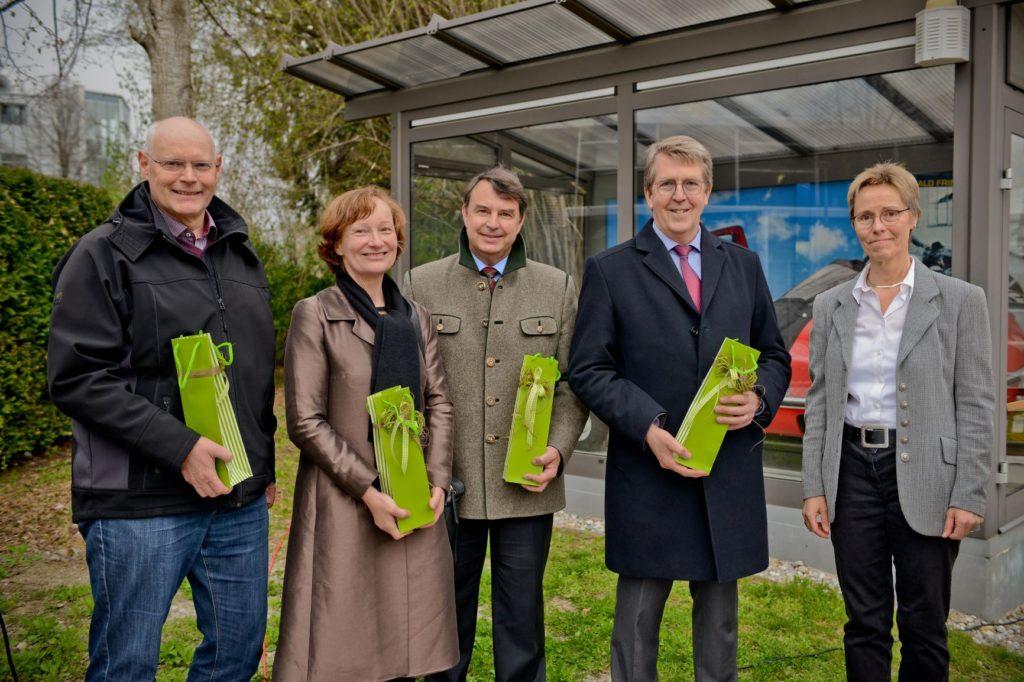 Robert Kratzer städt. Bauamt, Prof. Anne Beer, Thomas Gätzschmann Stadtbaumeister, Bgm Klaus Ritter, Dr. Birgit Löffler