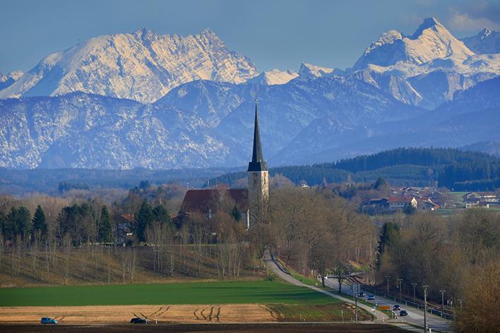 St Georgen Traunreut Kirche Berge Hochkalter Watzmann