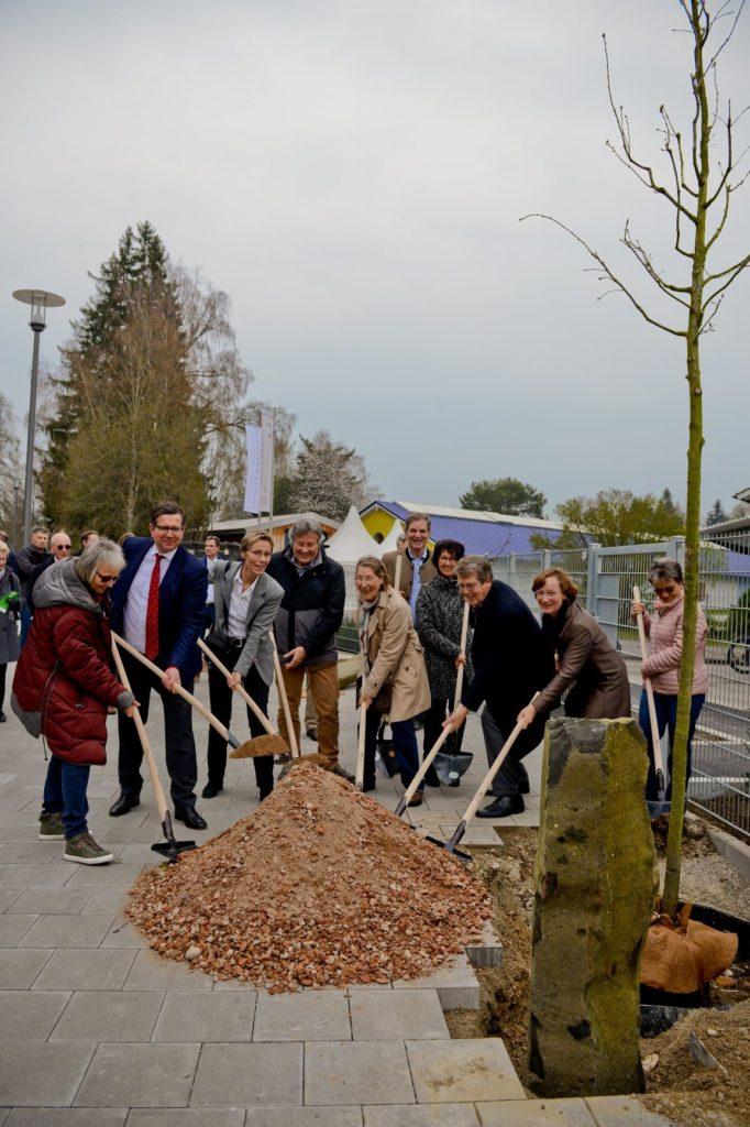 Eichenpflanzung auf dem Rathausplatz Traunreut mit Bürgermeister Klaus Ritter am 14.12.2018, © Stadt Traunreut, Foto Gastager, R. Winkler