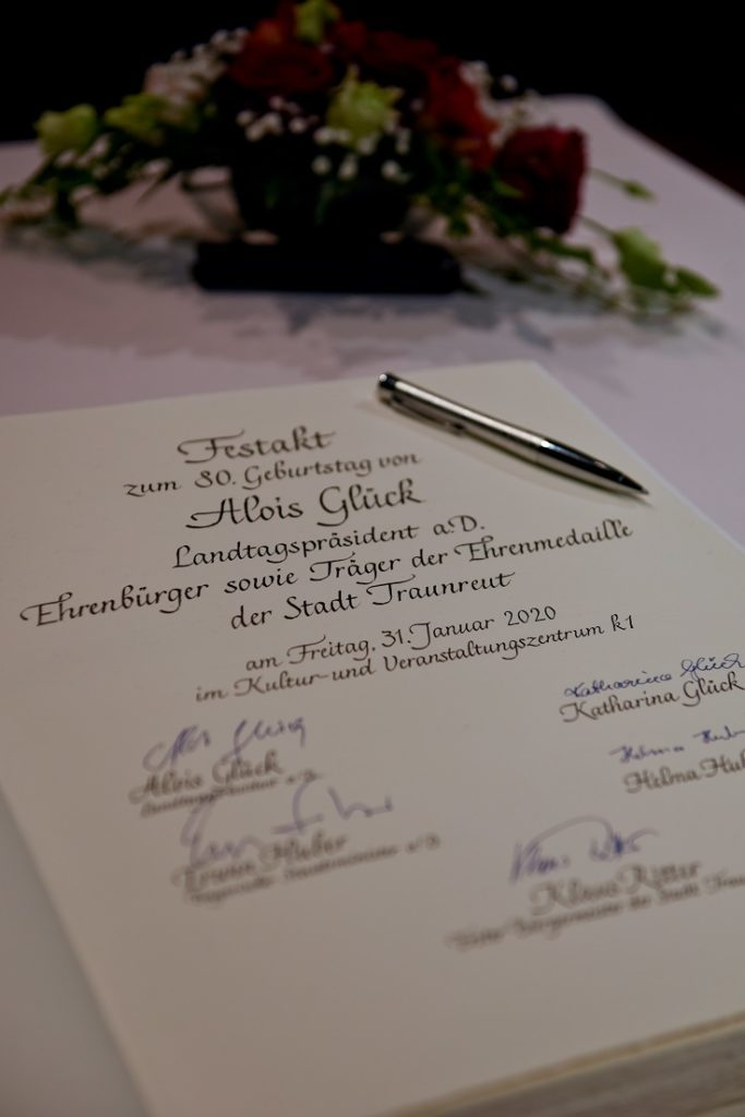 Traunreut Stadt k1 Alois Glück Erwin Huber Festakt 80. Geb.