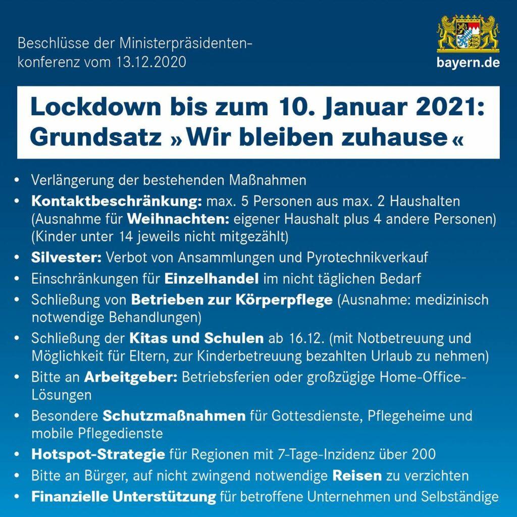 Maßnahmen des Lockdown ab 16.12.2020