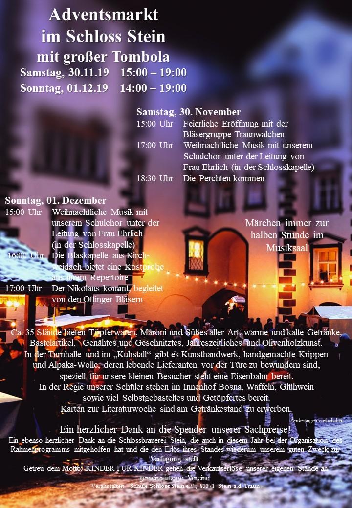 Adventsmarkt im Schloss Stein mit großer Tombola